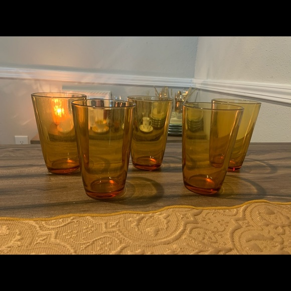 Set of 5 Vintage Vereco France Amber Glasses